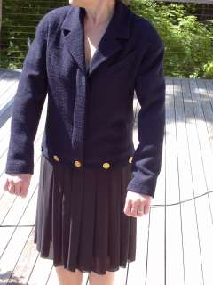 Chanel Boutique © Navy Wool Boucle Jacket and Black Soie Silk Skirted