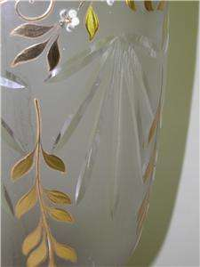 HAND PAINTED ENAMEL GILDED CUT GLASS BANQUET LAMP 31.5 HIGH