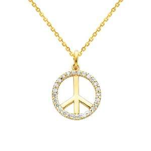 14K Yellow Gold Peace Sign CZ Cubic Zerconia Charm Pendant with Yellow