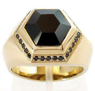 HEXAGON BIG BLACK ONYX GOLD BRASS BRONZE RING Sz 11.5 SIMPLY ELEGANT