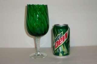 Emerald Green Swirl Glass Bowl Air Twisted Stem Goblet