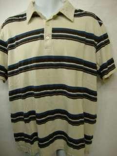 REPUBLIC Mens Beige Stripe Pima Cotton S/S Polo Shirt X Large XL