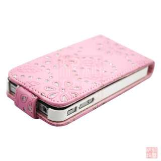 Pink Bling Diamond PU Leather Flip Case Cover Pouch for iPhone 4S 4 4G