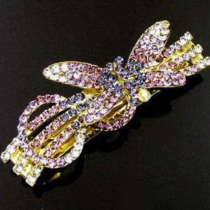 SHIPPING, 1pc rhinestone crystal dragonfly hair barrette clip