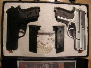 AIR SPORT GUN P618, 6mmBB, 2 pistols in case, dual spring airsoft guns