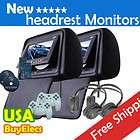 BLACK Pair Car 7 Headrest LCD Monitor 2 DVD Player SD