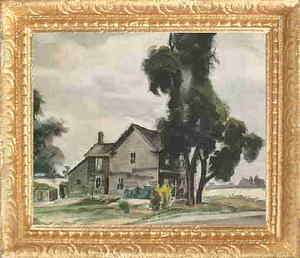 OLD COUNTRY FARM HOUSE Dollhouse Picture Miniature Art