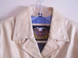 Harley Davidson Womens Leather Fringed Jacket Tan Camel X Small XS