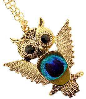 New Peacock feather jelly belly gold tone OWL pendant necklace