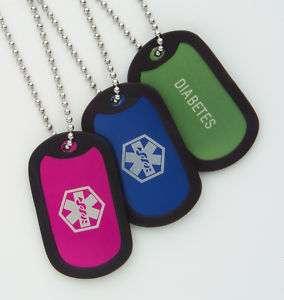 Kids Medical Alert Dog Tag ID Necklace ~ Diabetes ~
