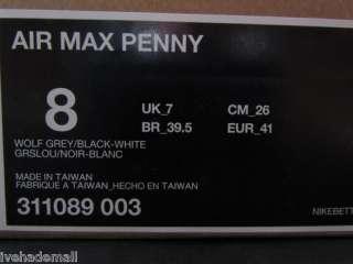 detailed look 8b716 8698d Nike Air Max Penny 1 Sz 8 Wolf grey Black Retro 311089 003