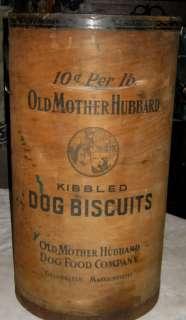 ANTIQUE DOG BISCUIT STORE FOOD DISPLAY WOOD BARREL ART LADY HOLDER
