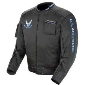Power Trip U.S. Air Force Mens Alpha Textile Motorcycle Jacket Black