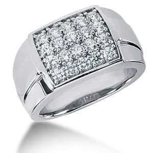 Ring Wedding Band Round Cut Pave 14k White Gold DALES Jewelry