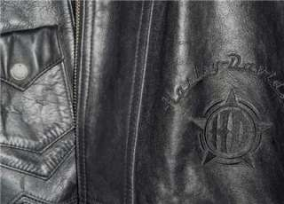 Harley Davidson Leather Jacket Vintage Heritage Embossed Mens Medium