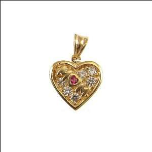 14k Yellow Gold, Mom Heart Pendant Charm Lab Created Gems