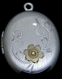 Sterling Silver Hand Engraved large Oval Locket w/ gold enamel flower