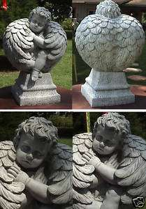 FEATHERBALL ANGEL CONCRETE STATUE WITH VIOLIN SCULPTURE