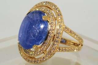 12000 13.33CT LAPIS GEM CERTIFIED BLUE SAPPHIRE & DIAMOND RING VS