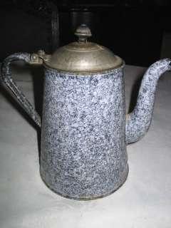 PRIMITIVE ANTIQUE COUNTRY FARM STORE GRANITEWARE COFFEE TEA POT ENAMEL