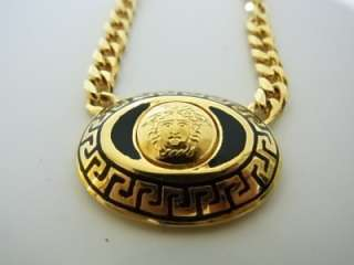 VERSACE Black Gold Chain Necklace MEDUSA authentic Vintage RARE