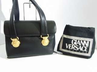 VERSACE Shoulder Bag Black Leather MEDUSA GOLD Flap Purse Bag EX