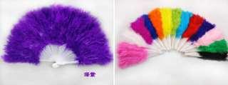 Dance Fluffy Soft Feather Costume Hand Held Folding Fan |