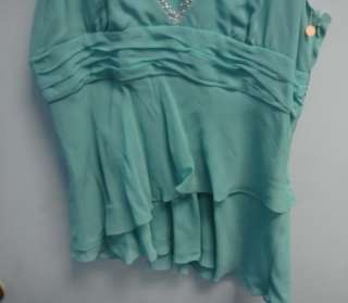 NWT Womens Sea Foam Green Silk Tank BCBG Max Azria Lg