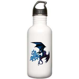 Water Bottle 1.0L Blue Dragon with Lightning Flames