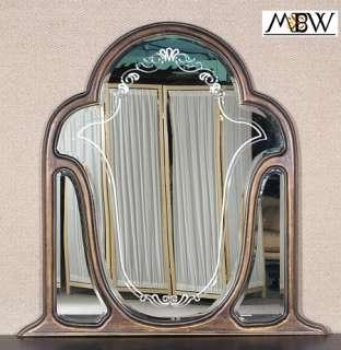 Style Antique Black Finish Dresser Hanging Wall Mirror
