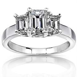 White Gold 1 3/4ct TDW Emerald cut Diamond Engagement Ring ( H I, SI