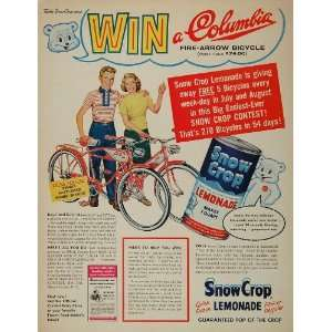 1950s Ad Snow Crop Lemonade Columbia Fire Arrow Bike   Original Print