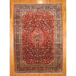 Persian Kashan Hand knotted Red/Navy Rug (10 x 15)