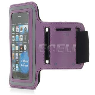 PURPLE & BLACK LEATHER WITH NEOPRENE SPORTS ARMBAND CASE FOR APPLE