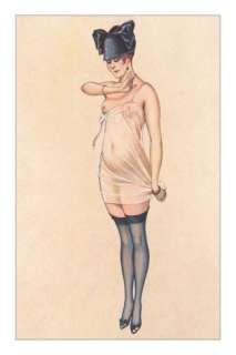 Woman in Sheer Slip with Black Stockings Posters at AllPosters