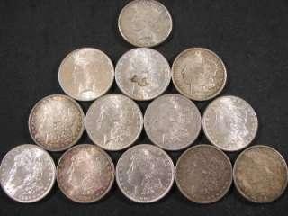 BAKERS DOZEN (13 COINS) VF BU MORGAN + PEACE SILVER DOLLAR LOT