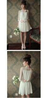 NEW Sweet Gentle Ladies Round Neck Sheer Chiffon Mini Dress Half