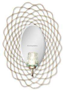 Contemporary Openwork Candle Wall Sconce Silver Metal Mirrored Mirror