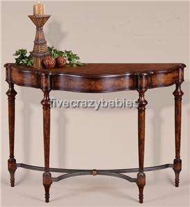Classic Burled Wood Burlwood Console Table Sofa Hall Traditional