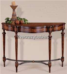 Classic Burled Wood Burlwood Console Table Sofa Hall Traditional