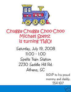 Choo Choo Train 2 Birthday Party Invitations