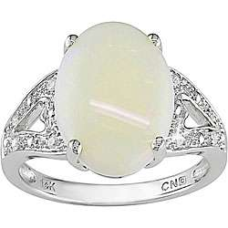 10k White Gold Diamond and Oval Opal Ring