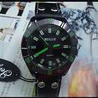 Mens Boys Gents Leather Sport Quartz Wrist Watch Black Band Dial Q18