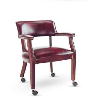 Alera Traditional Series Guest Arm Chair with Casters, Mahogany Finish