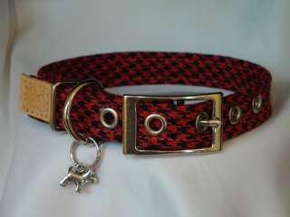 Red & Black Herringbone Plaid dog collar by Puppy Dog Plaids