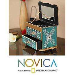 Wood Turquoise Splendor Painted Glass Jewelry Box (Peru)