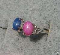 BLUE PINK LINDE STAR SAPPHIRE CREATED RUBY S/S RING