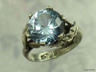 MEXICO TAXCO 925 STERLING SILVER 5 CT GENUINE BLUE TOPAZ RING x