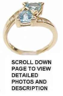 Exquisite Solid Gold, Blue Topaz & Diamond Estate Ring