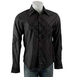 English Laundry Mens Black Stripe Button up Shirt